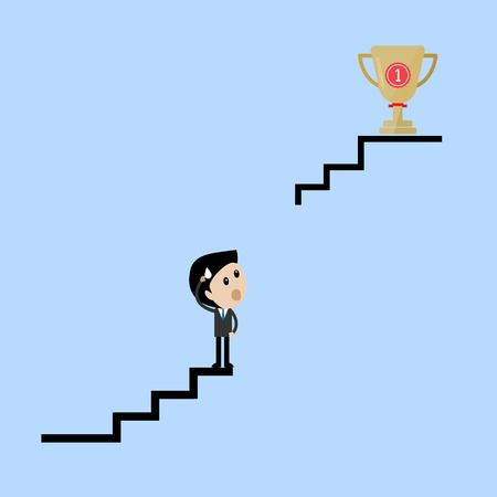Businessman stand on broken stairway thinking of ways to get his trophy