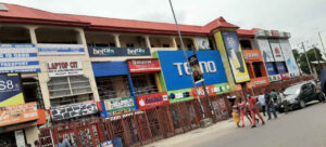 A building with many shops in Nigeria